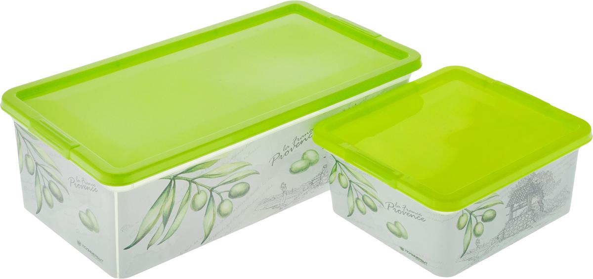 Набор контейнеров для хранения Полимербыт Прованс, цвет: белый, салатовый, 2 предмета. SGHPBKP79RG-D31SКомплект Полимербыт Прованс состоит из двух контейнеров для хранения мелочей, которые выполнены из пластика и оформлены оригинальным рисунком. Изделие подойдет для хранения различных бытовых предметов. Удобные в использовании и хранении.Размеры контейнеров: 34 х 18,5 х 12 см; 18,5 х 16 х 9 см. Объем контейнеров: 1,9 л; 5,5 л.