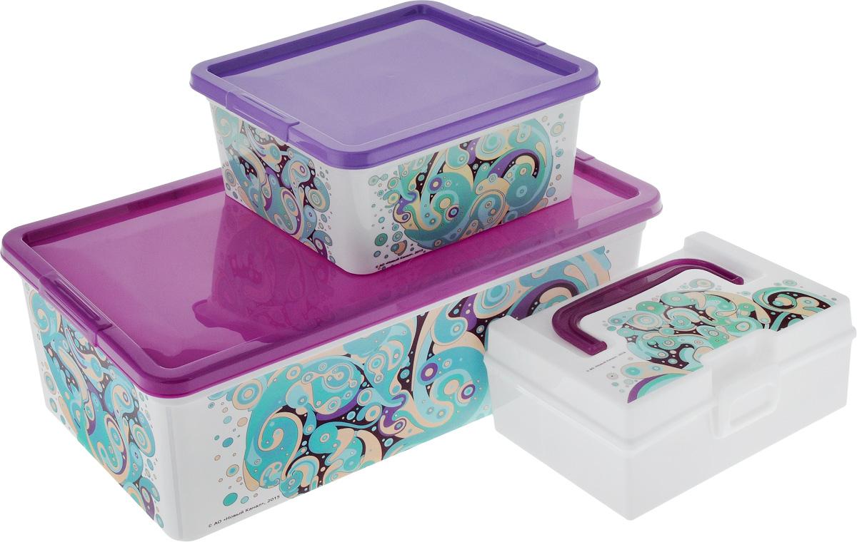 Набор контейнеров для хранения Полимербыт Домашний, 3 предмета. SGHPBKP4125051 7_желтыйНабор Полимербыт Домашний состоит трех контейнеров для хранения мелочей, которые выполнены из пластика и оформлены оригинальным рисунком. Изделие подойдет для хранения различных бытовых предметов. Удобные в использовании и хранении.Размеры: 34 х 18,5 х 12 см; 18,5 х 16 х 9 см; 17 x 10 x 7,5 см. Объем: 1,9 л; 5,5 л; 0,8 л.