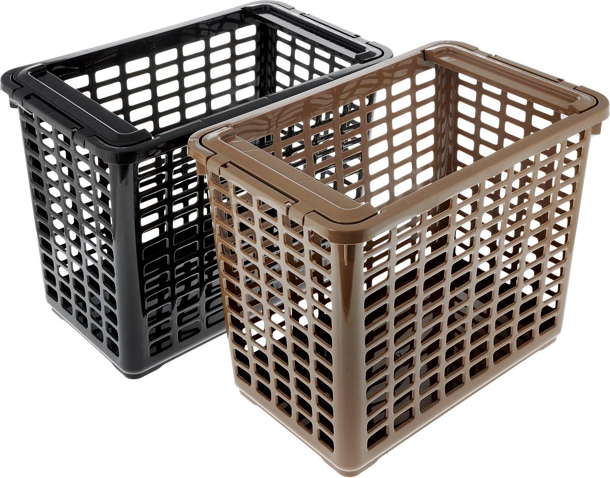 Корзина для хранения Полимербыт, 2 шт, 41 x 25,5 x 33 смRG-D31SУдобная корзинка Полимербыт прекрасно подойдет для хранения бытовых вещей и продуктов. Изделие выполнено из пластика. Дно сплошное, а стенки корзины оформлены изящной перфорацией. Корзинка оснащена двумя подвижными ручками. Универсальная пластмассовая корзина обеспечит порядок и комфорт в вашем доме и на даче.В набор входит 2 штуки.