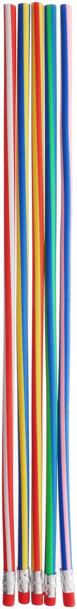 Эврика Карандаш гибкий 5 шт1802Карандаши Эврика, которые можно завязывать в узел или заплетать косичкой, - символ гибкости мышления, творческой изобретательности и новаторства. Специально разработанный эластичный графит расположен в силиконовой оболочке, и позволяет наносить надписи, чертежи или рисунки, не боясь, что хрупкий грифель сломается при падении или от неловкого нажатия. При необходимости можно разрезать карандаш на множество небольших частей, удобных по размеру для использования. Гибкий карандаш легко затачивается обычной точилкой.
