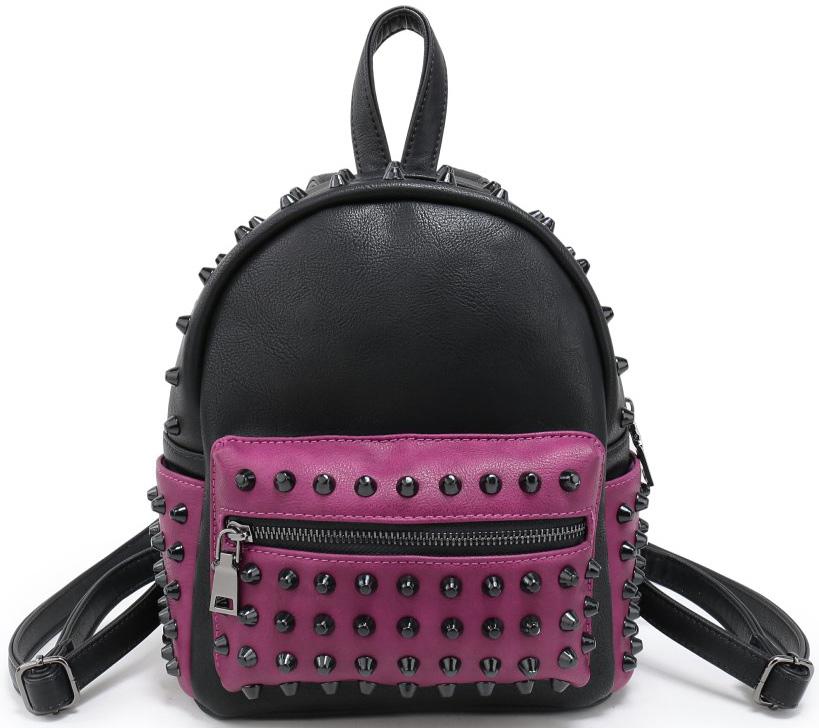 Рюкзак женский OrsOro, цвет: черный, розовый. D-177/70S76245Рюкзак OrsOro выполнен из высококачественной искусственной кожи и оформлен декоративными клепками. Изделие оснащено ручкой для подвешивания и удобными лямками, длину которых можно изменять с помощью пряжек. На лицевой стороне расположен один объемный карман на молнии. Рюкзак имеет два боковых карманадля переноски бутылок с водой. Изделие закрывается с помощью молнии. Внутри расположено главное отделение, которое содержит одиннебольшой карман на молнии и один открытый карман для мелочей.