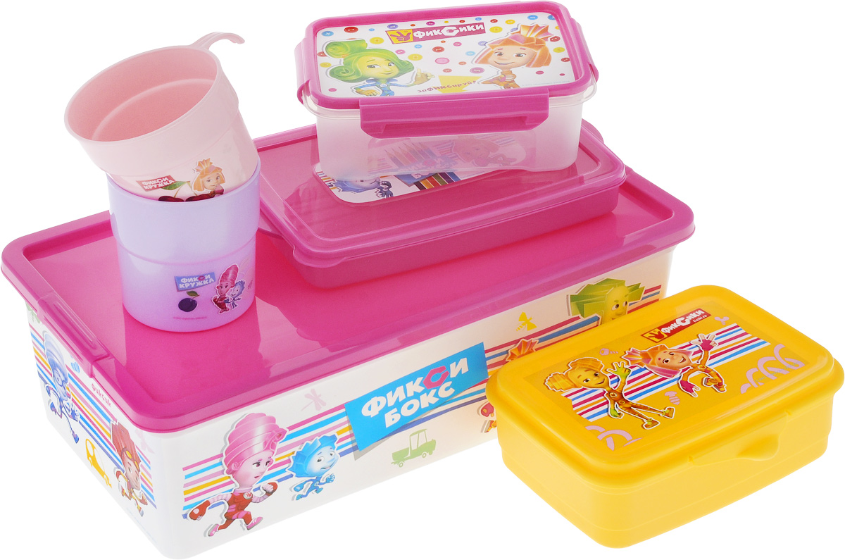Набор для хранения Полимербыт Фиксики, 6 предметовFA-5125-1 BlueНабор из шести предметов Фиксики изготовлен из качественного пластика. В набор входит: контейнер для фломастеров и карандашей, контейнер для завтрака, две пластиковых кружки, ланчбокс, коробка для мелочей. Легкий и надежный пластиковый контейнер для завтрака подходит для использования в СВЧ. Вы можете взять его с собой в путешествие и в любой подходящий момент разогреть свой бутерброд, котлету или булочку в микроволновой печи без лишних затрат времени. Контейнеры из качественного пластика никогда выскользнут из рук в неподходящий момент, не разобьются на осколки, не займут много места в вашей сумке. Удобные в использовании и хранении принадлежности.Объем контейнера для фломастеров и карандашей : 0,6 л. Объем контейнера для завтрака: 0,75 л. Объем кружек: 0,25 л; 0,3 л.Объем ланчбокса: 0,75 л.Объем коробки для мелочей: 5,5 л.