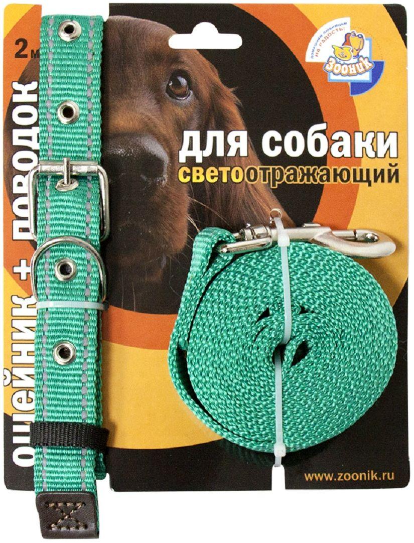 Комплект для собакЗооник, со светоотражающей лентой, цвет: зеленый, 2 предмета. 1352-10120710Комплект для собакЗооник, включающий в себя: ошейник, со светоотражающей лентой и поводок, идеально подходит для прогулок в темное время суток. Длина поводка - 2 м. Ширина ленты ошейника - 25 мм.Размер ошейника - 37-51 см