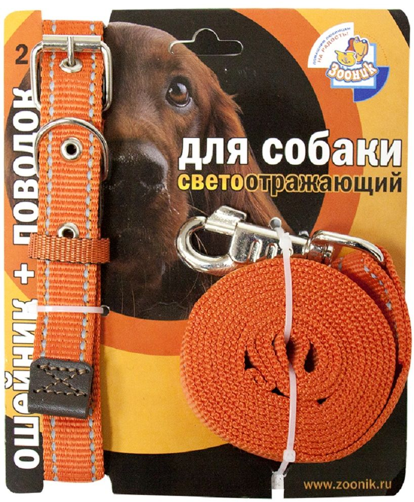 Комплект для собак Зооник, со светоотражающей лентой, цвет: оранжевый, 2 предмета. 1352-211423-1Комплект для собак Зооник, включающий в себя: ошейник, со светоотражающей лентой и поводок, идеально подходит для прогулок в темное время суток. Длина поводка - 2 м. Ширина ленты ошейника - 25 мм.Размер ошейника - 37-51 см