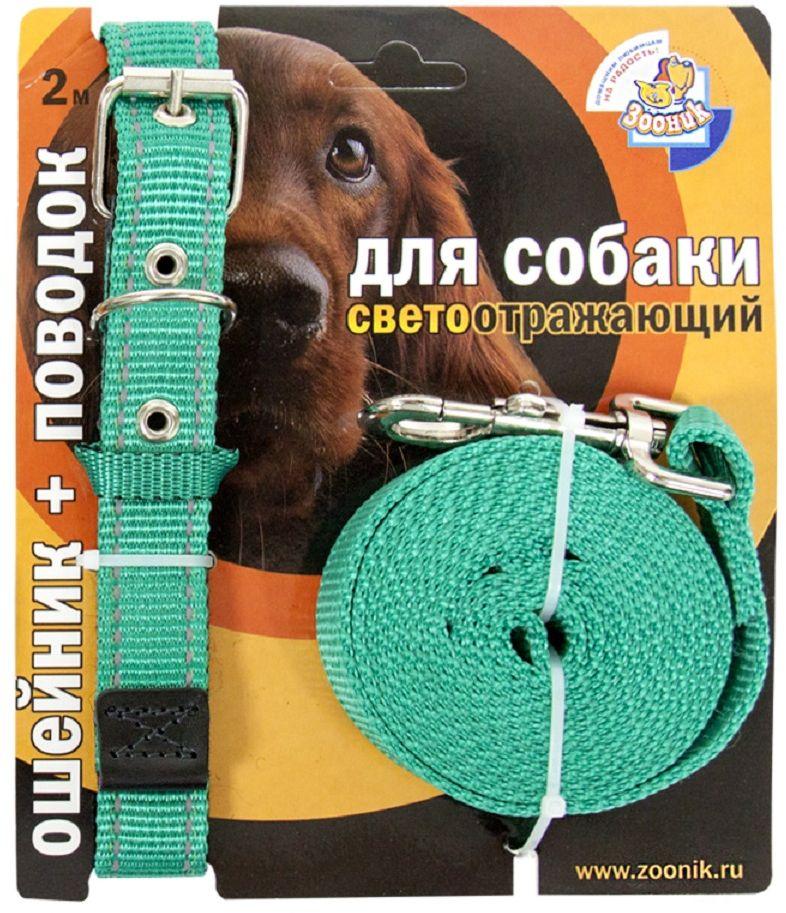 Комплект для собак Зооник, со светоотражающей лентой, цвет: зеленый, 2 предмета. 1353-123525Комплект для собак Зооник, включающий в себя: ошейник, со светоотражающей лентой и поводок, идеально подходит для прогулок в темное время суток. Длина поводка - 3 м. Ширина ленты ошейника - 25 мм.Размер ошейника - 37-51 см