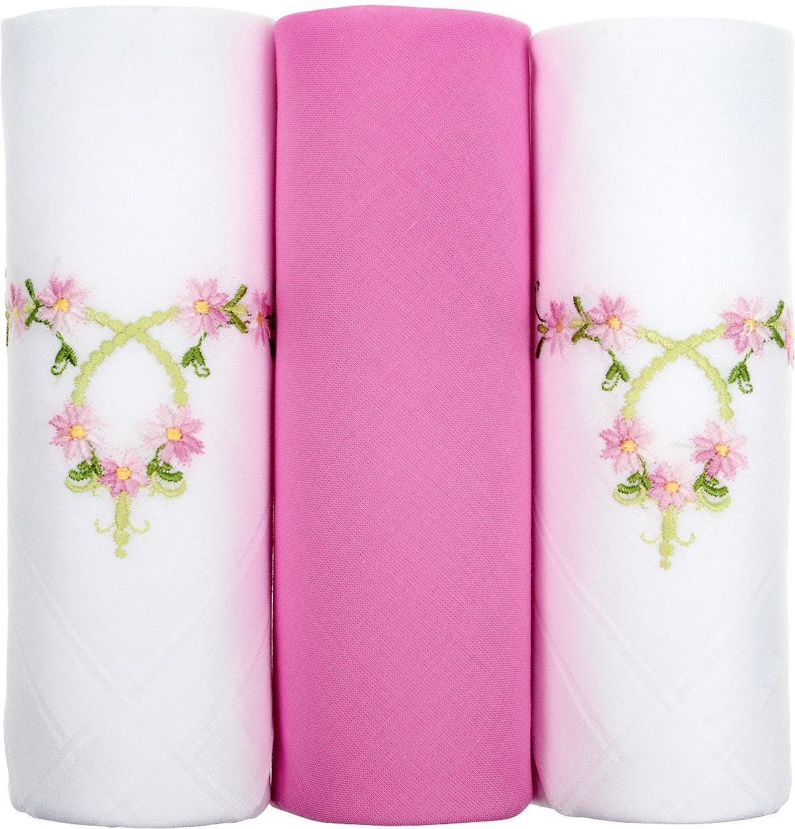 Платок носовой женский Zlata Korunka, цвет: белый, розовый, 3 шт. 25605-6. Размер 30 см х 30 см39864 Серьги с подвескамиНебольшой женский носовой платок Zlata Korunka изготовлен из высококачественного натурального хлопка, благодаря чему приятен в использовании, хорошо стирается, не садится и отлично впитывает влагу. Практичный и изящный носовой платок будет незаменим в повседневной жизни любого современного человека. Такой платок послужит стильным аксессуаром и подчеркнет ваше превосходное чувство вкуса.В комплекте 3 платка.