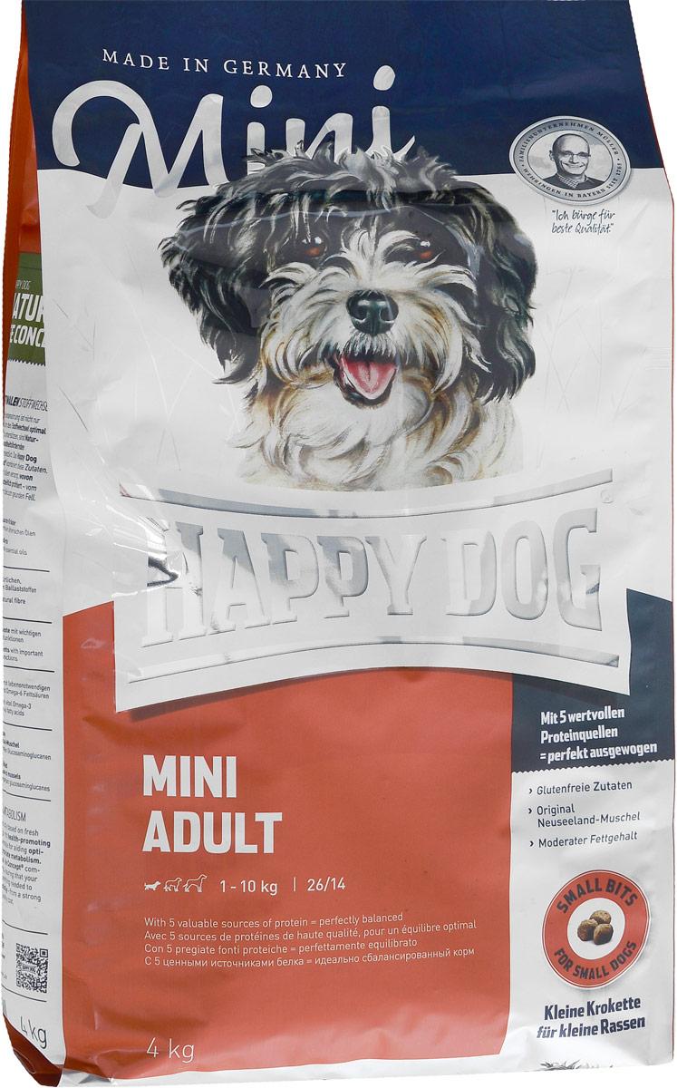 Корм сухой Happy Dog Adult для взрослых собак мелких пород, 4 кг8004Happy Dog Adult - полнорациональный корм для собак мелких пород. Слишком большое количество белка и жира нередко становится для наших собак причиной множества хронических заболеваний - прежде всего при недостатке физической активности! Помочь может сбалансированное, не слишком калорийное питание, соответствующее реальным потребностям собаки с нормальной активностью. Сухой корм Happy Dog Adult содержит 26% легко усваиваемого белка высшего качества и адекватное количество жира - 14% - с жизненно необходимыми Омега-3- и Омега-6-ненасыщенными жирными кислотами, которые производятся из ценного сырья животного и растительного происхождения. Состав: кукуруза, птица, птичий жир, рисовая мука, картофель, лосось, рыба, ягненок, масло из семян подсолнечника, свекольная пульпа, яблочная пульпа (0,6%), рапсовое масло, сухое цельное яйцо, хлорид натрия, дрожжи, хлорид калия, морские водоросли (0,15%), семя льна (0,15%), мясо моллюска (0,02%), расторопша, артишок, одуванчик, имбирь, березовый лист, крапива, ромашка, кориандр, розмарин, шалфей, корень солодки, тимьян, дрожжи (экстрагированные), (общий объем трав: 0,14 %).Аналитический состав: сырой протеин 26%, сырой жир 14%, сырая клетчатка 3%, сырая зола 6,5%, кальций 1,5%, фосфор 1%, натрий 0,4%, Омега - 6 жирные кислоты 2,8%, Омега - 3 жирные кислоты 0,3%.Витамины/кг: витамин А 12000 М.E., витамин D3 1200 М.E., витамин Е 75 мг, витамин В1 4 мг, витамин В2 6 мг, витамин В6 4 мг, биотин 575 мкг, кальций 10 мг, ниацин 40 мг, витамин В12 70мкг, холинхлорид.Микроэлементы/кг: железо 60 мг, медь 105 мг, цинк 10 мг, марганец 125 мг, йод 25 мг, селен 2 мг.Товар сертифицирован.