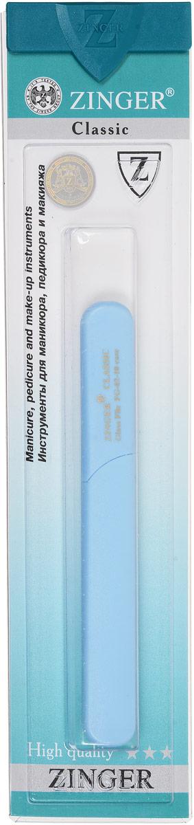 Zinger Пилка для ногтей zo-FG-02-10-Case, двусторонняя, стеклянная, цвет: голубой5010777142037Стеклянная двусторонняя пилочка Zinger zo-FG-02-10-Case не травмирует ногтевую пластину и подходит для ногтей любого вида, твердости и натуральности. Она изготовлена из высококачественного стекла и дополнена практичным пластиковым футляром с крышкой. Работа с ней доставляет приятные ощущения, особенно для ногтей с повышенной чувствительностью. Она также может применяться для обработки огрубевшей кожи вокруг ногтя.Возможна санитарная обработка.Товар сертифицирован.