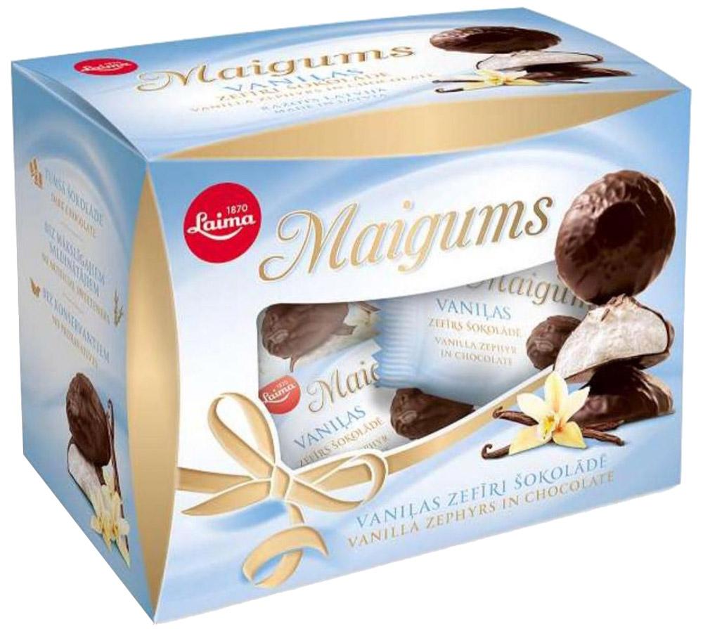 Laima зефир в шоколаде со вкусом ванили Майгумс, 185 г0120710Воздушный, нежный, ванильный зефир Laima Майгумс в шоколадной глазури.