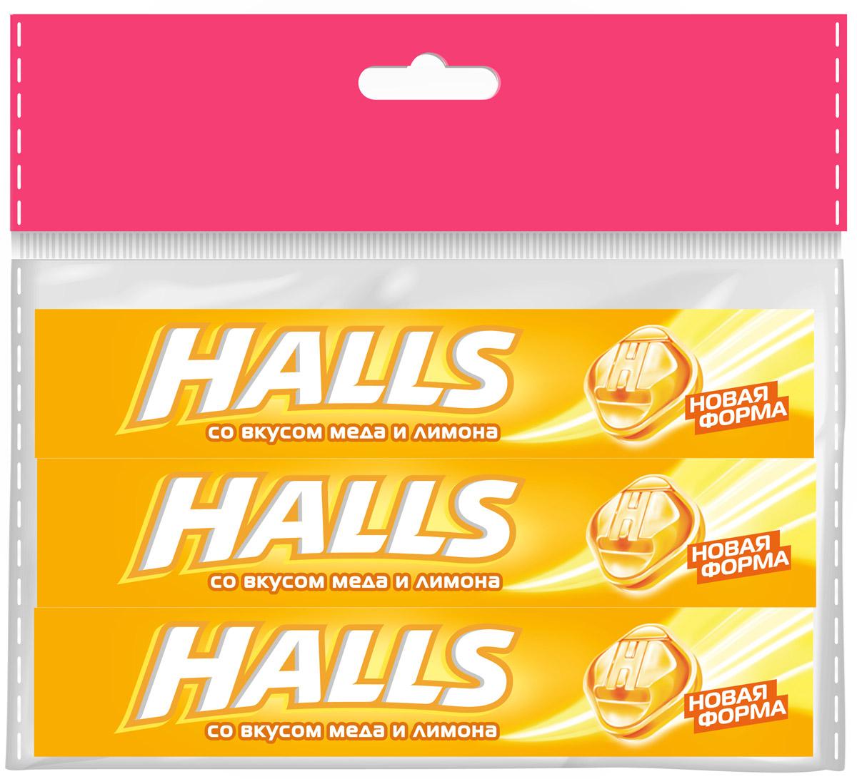 Halls карамель леденцовая со вкусом Меда и Лимона, 3 шт по 25 г halls карамель леденцовая со вкусом арбуза 12 пачек по 25 г
