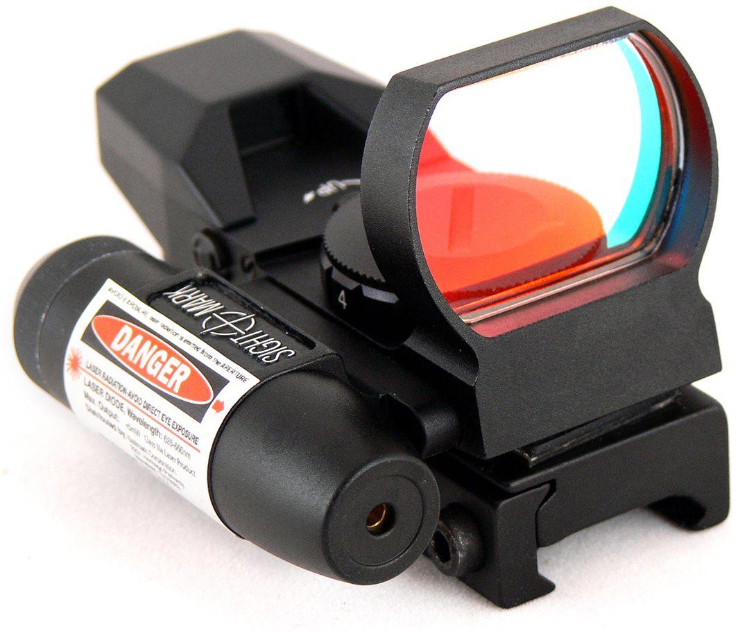 Прицел коллиматорный Sightmark, панорамный с ЛЦУ на Weaver, со сменной маркойERJX103063-BTA0Коллиматор Sightmark панорамный с ЛЦУ на Weaver, марка - сменная 4 вида, подсветка красная.Арт. SM13002Компания Sightmark, США,Техас, Мэнсфилд впервые представила свою продукцию в 2007 году на SHOT Show. Основной целью компании является разработка и производство современной оптики и аксессуаров для охотников, спортсменов и стрелков. Кроме того, каждый продукт разработан для специализированного рынка, позволяя стрелкам получить больше высококачественных изделий для их огнестрельного оружия и пистолетов. Все коллиматорные прицелы Sightmark разработаны для ружей, винтовок и пистолетов.Коллиматорный прицел SM13002 интегрирован с лазерным целеуказателем. ЛЦУ крепится к коллиматору двумя винтами. Регулировка яркости прицельной марки выполняется восьмиступенчатым переключателем, который совмещен с батарейным отсеком.Имеет 4 типа прицельной марки, 7 режимов яркости прицельной марки.Линза объектива закрывается мягкой резиновой крышкой, которая защищает от загрязнений и механических повреждений.Противоударный и защищенный от непогоды.Все компоненты коллиматорного прицела, подверженные механическому воздействию, выполнены из нержавеющей стали и анодированных алюминиевых сплавов.Миниатюрные размеры делают его идеально подходящим для использования с пистолетами и ружьями, которые могут использоваться для стрельбы по мишеням (спортинг) или охоты по движущимся целям. Идеально подходит для стрельбы на вскидку и по быстро движущимся целям. Тип: панорамныйУвеличение (х): 1Прицельная марка: сменная, 4 видаПодсветкаприцельной марки: красная, 7 режима яркостиРазмер линзы: 33х24 ммДлина прицела: 82 ммМатериал: высокопрочный авиационный алюминиевый сплавТип батареи: CR2032 3VКрепление: на Weaver/PicatinnyСовместимость с приборами ночного видения: нетВес с кронштейном и ЛЦУ: 155 гВес с упаковкой: 240 гРазмер упаковки (ДхШхВ): 11,5х7х7 смГарантия: 1 годХарактеристики ЛЦУ:Длина волны: 632-650 Нм.Мощно