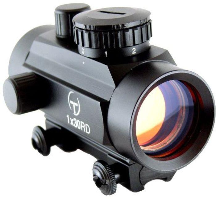 Прицел коллиматорный Target Optic 1x30, закрытый на планку 11мм, марка - точкаTO-1-30-DTКоллиматор Target Optic 1x30 закрытый на планку 11мм, марка - точка. Арт. TO-1-30-DTКомпактный коллиматор значительно облегчает прицеливание, устанавливается на гладкоствольное и нарезное оружие, а также на пневматическое, с энергией не более 7,5 Дж.Корпус выточен из алюминиевого сплава, поверхность анодирована. Винты механизма ввода поправок снабжены защитными колпачками. Крепится на оружие с помощью двух винтов на расстоянии от 5 до 40 см от глаза стрелка до окуляра прицела.Оснащен регулятором яркости прицельной марки, который позволяет изменять интенсивность подсветки в пределах 7 уровней, что важно для качественной подстройки прицела под определенный вид охоты. Яркость настраивается верхним маховиком, совмещенным с батарейным отсеком. Для оптимального светопропускания на линзы нанесено напыление. Коллиматор имеет встроенный в корпус кронштейн крепления на призму 11 мм.Тип: закрытыйУвеличение (х): 1Прицельная марка: точкаПодсветка прицельной марки: красная, 7 режимов яркостиДиаметр объектива: 30 ммДлина прицела: 97 ммМатериал: алюминийТип батареи: CR2032 3VКрепление: на планку 11 ммСовместимость с приборами ночного видения: нетВес с кронштейном: 198 гВес с упаковкой: 295 гРазмер упаковки (ДхШхВ): 17,5х8х7 смГарантия: 1 годКомплектация:- коллиматорный прицел- батарея CR2032 3V- защитные крышки на окуляр и объектив.