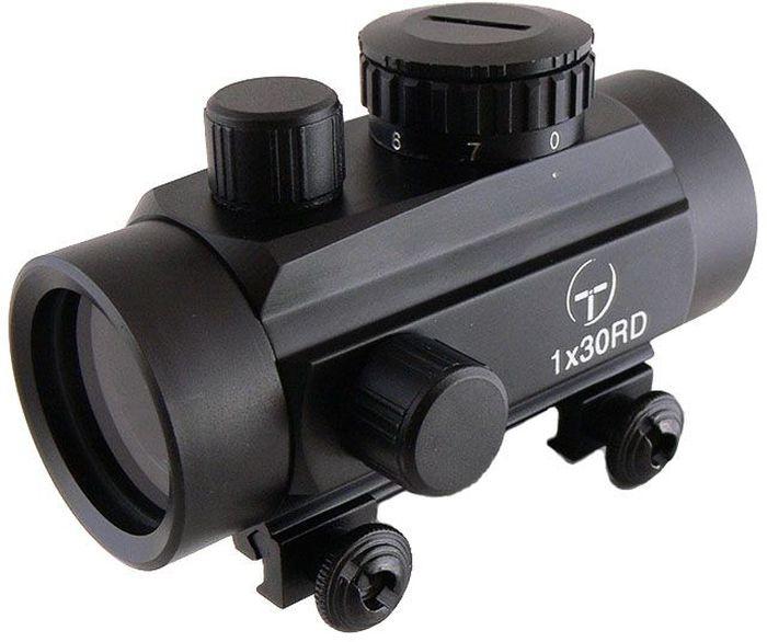 Прицел коллиматорный Target Optic 1x30, закрытый на Weaver, марка - точкаTO-1-30Коллиматор Target Optic 1x30 закрытый на Weaver, марка - точка. Арт. TO-1-30Коллиматорный прицел Target Optic 1x30 закрытого типа с семью уровнями подсветки предназначен для установки на гладкоствольное и нарезное оружие, а также на пневматическое, с энергией не более 7,5 Дж. Cистема монтажа позволяет устанавливать прицел на любое оружие, оборудованное стандартной базой Weaver/Picatinny. Крепится на оружие с помощью двух винтов на расстоянии от 5 до 40 см от глаза стрелка до окуляра прицела. Верхний и боковой пристрелочные винты регулируют точку прицеливания. Щелчок пристрелочного винта соответствует смещению точки попадания на 12-15мм на дистанции 100м. Оснащен регулятором яркости прицельной марки, который позволяет изменять интенсивность подсветки в пределах 7 уровней, что важно для качественной подстройки прицела под определенный вид охоты.Линзы прицела имеют специальное покрытие, которое защищает их от запотевания и от мелких повреждений. Качественная оптика позволяет использование прицела в условиях недостаточной освещенности. Использование коллиматорного прицела обеспечивает более удобное и быстрое прицеливание. При достижении определенного навыка, пользователь в дальнейшем будет использовать только прицелы этого типа за счет их удобства и точности. Коллиматор надежно защищен от влаги и проникновения пыли вовнутрь. Но, стоит учитывать, что данная модель не является водонепроницаемой (нельзя погружать в воду). Небольшой вес не сильно утяжелит оружие. Матовый корпус не создает солнечные блики, а, следовательно, не выдает местонахождение охотника. Тип: закрытыйУвеличение (х): 1Прицельная марка: точкаПодсветка прицельной марки: краснаяДиаметр объектива: 30 ммДлина прицела: 97 ммМатериал: алюминийТип батареи: CR2032 3VКрепление: на планку WeaverСовместимость с приборами ночного видения: нетВес с кронштейном: 211 гВес с упаковкой: 309 гРазмер упаковки (ДхШхВ): 17,7х8х6,8 смГарантия: 1 го