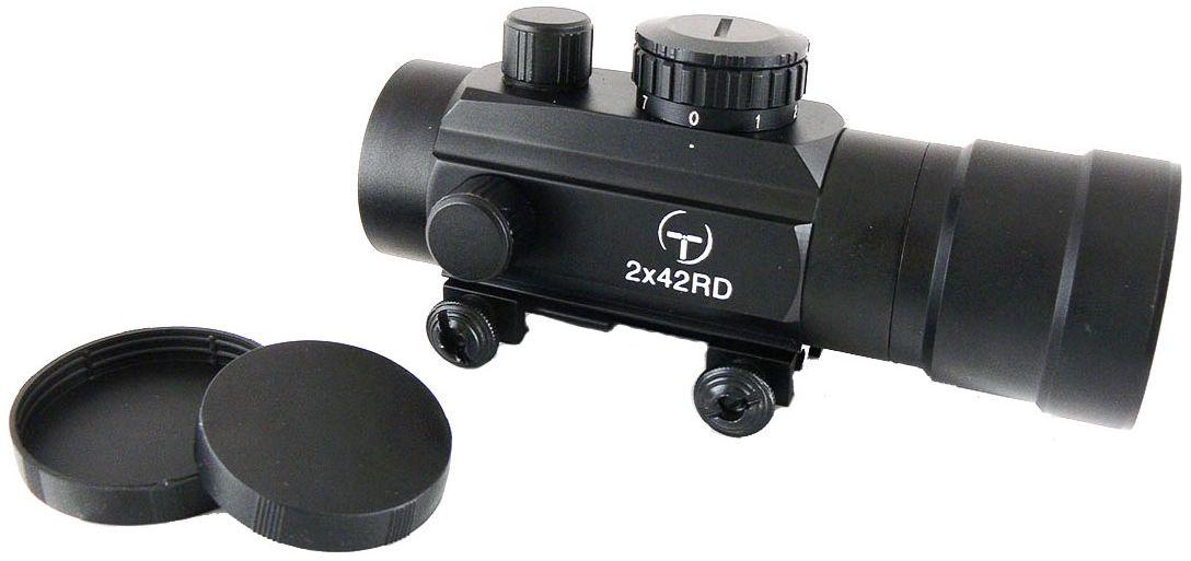 Прицел коллиматорный Target Optic 2х42, закрытый на Weaver, марка - точка527Коллиматор Target Optic 2х42 закрытый на Weaver, марка - точка. Арт. TO-2-42Коллиматорный прицел Target Optic 2x42 открытого типа с семью уровнями подсветки предназначен для установки на гладкоствольное и нарезное оружие. Cистема монтажа позволяет устанавливать прицел на любое оружие, оборудованное стандартной базой Weaver / Picatinny.Крепится на оружие с помощью двух винтов на расстоянии от 5 до 40 см от глаза стрелка до окуляра прицела. Верхний и боковой пристрелочные винты регулируют точку прицеливания. Щелчок пристрелочного винта соответствует смещению точки попадания на 12-15мм на дистанции 100м.Оснащен регулятором яркости прицельной марки, который позволяет изменять интенсивность подсветки в пределах 7 уровней, что важно для качественной подстройки прицела под определенный вид охоты. Линзы прицела имеют специальное покрытие, которое защищает их от запотевания и от мелких повреждений. Качественная оптика позволяет использование прицела в условиях недостаточной освещенности. Использование коллиматорного прицела обеспечивает более удобное и быстрое прицеливание. При достижении определенного навыка, пользователь в дальнейшем будет использовать только прицелы этого типа за счет их удобства и точности. Внутреннее пространство прицела заполнено сухим азотом, благодаря чему исключено запотевание внутренних поверхностей прицела. Коллиматор надежно защищен от влаги и проникновения пыли вовнутрь. Но, стоит учитывать, что данная модель не является водонепроницаемой (нельзя погружать в воду). Небольшой вес не сильно утяжелит оружие. Матовый корпус не создает солнечные блики, а, следовательно, не выдает местонахождение охотника. ОСОБЕННОСТЬ: состоит прицел из собственно прицела и увеличительной насадки. Может использоваться как с ней, так и без нее. Тип: закрытыйУвеличение (х): 1Увеличительная насадка, кратность: 2Прицельная марка: точкаПодсветка прицельной марки: красная, 7 режимов яркостиДиаметр о