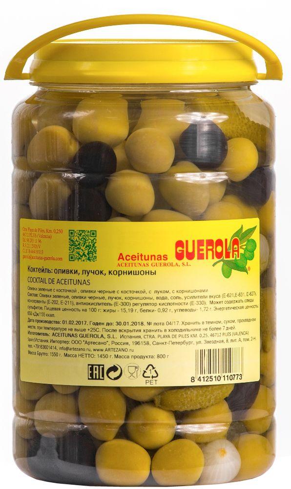 Guerola коктейль из оливок, корнишонов и лука, 800 г8412510110773Коктейль из оливок, корнишонов и лука от испанской семейной компании GUEROLA, которая была основана еще в конце 19 века в Валенсии Рафаэлем Гуэрола и до сих пор ее возглавляют члены семьи. Предприятие выпускает оливки различных видов по традиционных испанским рецептам, консервированные перцы, каперсы и ассорти из этих продуктов. Прекрасны как самостоятельное блюдо, так и компонент для салатов, пиццы, бутербродов, канапе, а также в качестве украшения закусок и соусов.