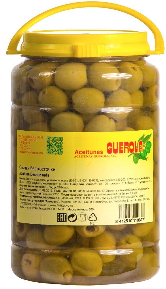 Guerola оливки зеленые Манзанийя калибр 200/220 без косточки, 600 г8412510110827Оливки зеленые Манзанийя калибром 200/220 без косточки от испанской семейной компании GUEROLA, которая была основана еще в конце 19 века в Валенсии Рафаэлем Гуэрола и до сих пор ее возглавляют члены семьи. Предприятие выпускает оливки различных видов по традиционных испанским рецептам, консервированные перцы, каперсы и ассорти из этих продуктов. Один из самых популярных столовых сортов оливок. Плоды обладают особым, насыщенным вкусом и плотной структурой. Прекрасны как самостоятельное блюдо, так и компонент для салатов, пиццы, бутербродов, канапе, а также в качестве украшения закусок и соусов.
