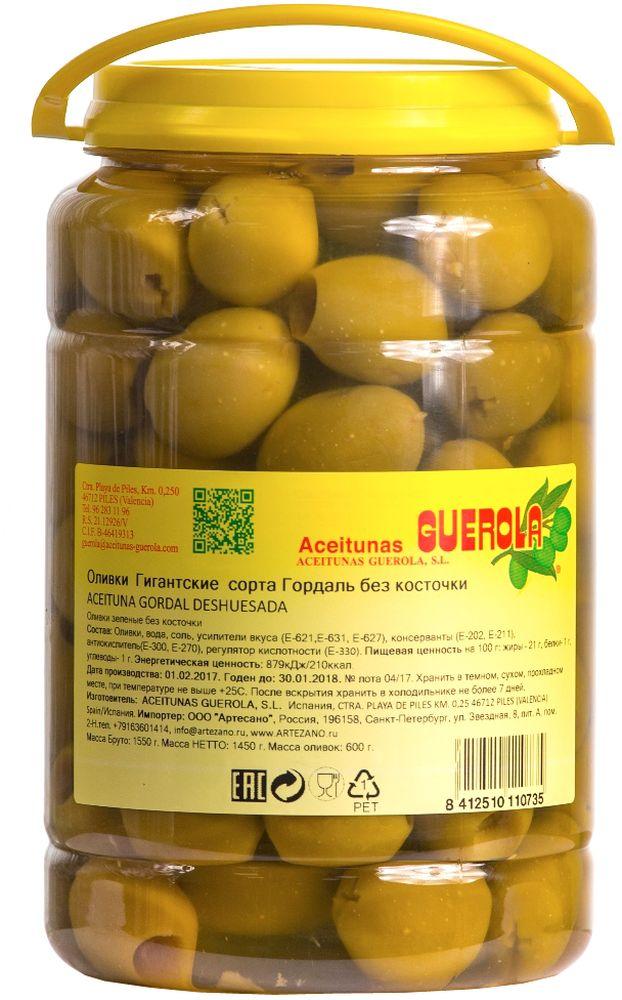 Guerola оливки зеленые Годаль калибр 80/100 без косточки, 600 г8412510110773Оливки зеленые Годаль (или королевские оливки) калибром 80/100 без косточки от испанской семейной компании GUEROLA, которая была основана еще в конце 19 века в Валенсии Рафаэлем Гуэрола и до сих пор ее возглавляют члены семьи. Предприятие выпускает оливки различных видов по традиционных испанским рецептам, консервированные перцы, каперсы и ассорти из этих продуктов. Эти оливки самые большие из существующих на испанском рынке (размером с небольшую сливу). Сорт Гордаль произрастает только в Испании и Греции, но испанские ценятся значительно выше за его тонкую текстуру, гармоничный вкус и косточку маленького размера. Прекрасны как самостоятельное блюдо, так и компонент для салатов, пиццы, бутербродов, канапе, а также в качестве украшения закусок и соусов.