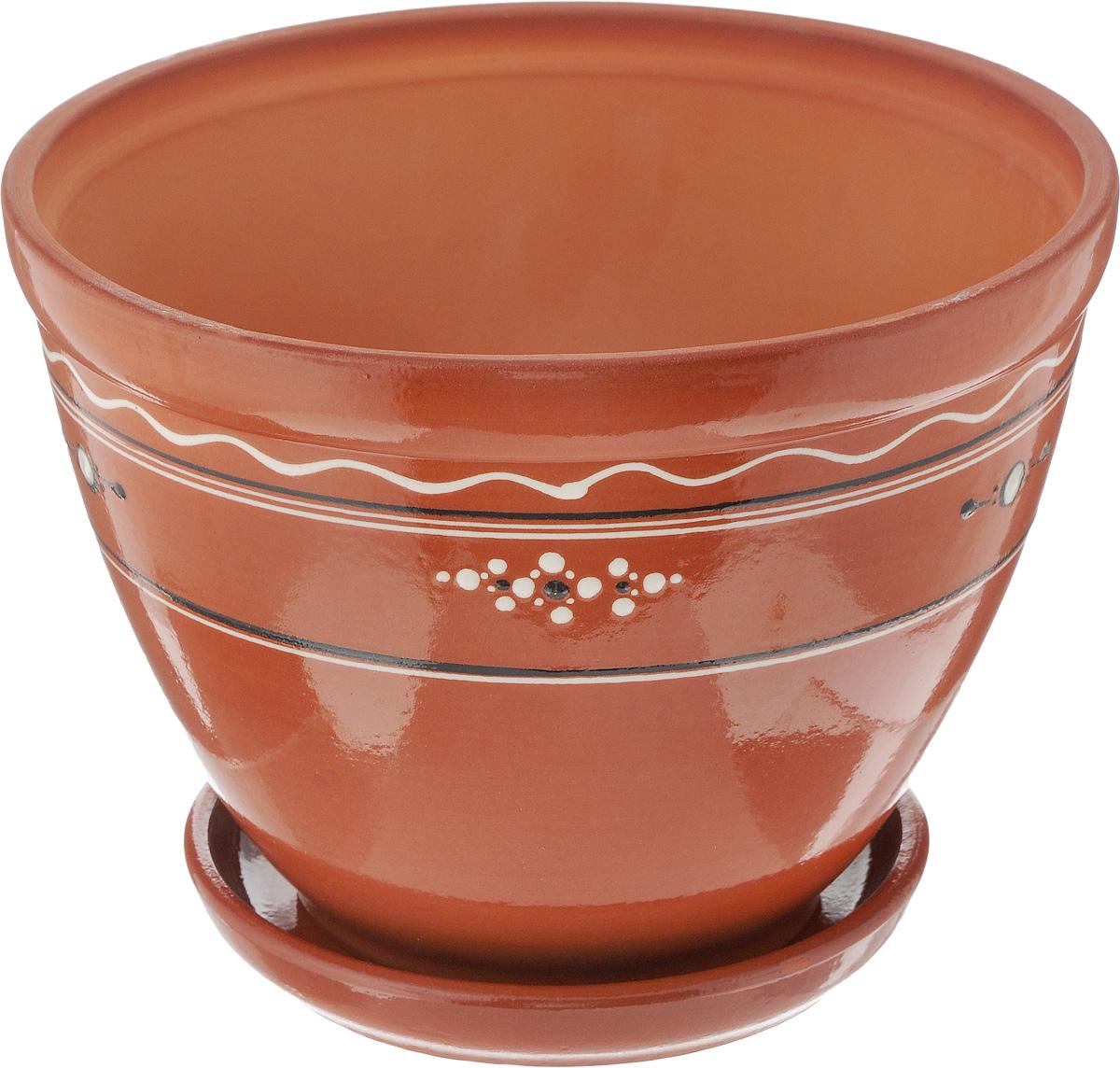 Горшок для цветов Ломоносовская керамика, с поддоном, 3,5 л531-326Горшок Ломоносовская керамика изготовлен из высококачественной керамики и оснащен поддоном для стока воды. Внешние стенки изделия покрыты глазурью и оформлены оригинальным рисунком. Изделие прекрасно подойдет для выращивания растений дома и на приусадебных участках.Диаметр (по верхнему краю): 24 см.Высота (с поддоном): 18 см.Размер поддона: 17 х 17 х 3 см.