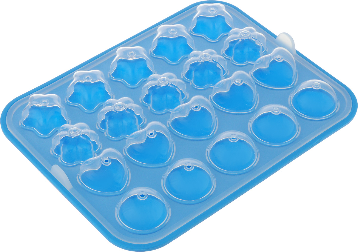 Набор для выпечки кейк-попсов Oursson Baby, цвет: прозрачный, голубой. BW2211S68/5/3Набор для выпечки кейк-попсов Oursson Baby, изготовленный из 100% силикона, поможет вам получить профессиональные и красивые изделия в домашних условиях. Набор состоит из формы и палочек. Форма обладает антипригарными свойствами, ее легко использовать, мыть и хранить. Отделять готовые изделия от формочек несложно, при этом не надо смазывать их жиром или маслом. Форма состоит из двух частей. Изделие имеет 5 круглых ячеек, 5 ячеек в виде сердечка, 5 ячеек в виде цветочки и 5 ячеек в виде звездочки.Кейк-поп (англ. cake pop, дословно торт на палке) - один из видов кондитерских изделий, мини-тортики на палочке.Можно мыть в посудомоечной машине и использовать в микроволновой печи.Размер формы: 22 х 18 х 1,5 см.Диаметр круглой ячейки: 3,2 см.Размер ячейки-сердечка:3,2 х 2,9 см.Размер ячейки-цветочка: 3 х 2,5 см.Размер ячейки-звездочки: 3,2 х 3 см. Длина палочки: 10 см.