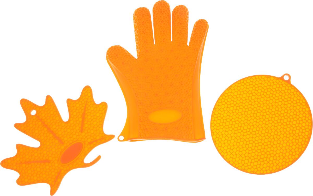Набор кухонных аксессуаров Oursson Bon Appetit: 2 подставки под горячее, прихватка-рукавица, цвет: оранжевый54 009312Набор кухонных аксессуаров Oursson Bon Appetit, изготовленный из силикона, состоит из двух подставок под горячее и прихватки-перчатки. Изделия очень приятны на ощупь, невероятно гибкие, выдерживают большой перепад температур от -20°C до +220°С. Аксессуары снабжены отверстиями для подвешивания.Прихватка-перчатка удобно и прочно сидит на руке. С помощью такой прихватки ваши руки будут защищены от ожогов, когда вы будете ставить в печь или доставать из нее выпечку.Подставки под горячее выполнены в виде круга и кленового листочка. Материал позволяет выдерживать высокие температуры и не скользит по поверхности стола.Каждая хозяйка знает, что подставка под горячее - это незаменимый и очень полезный аксессуар на каждой кухне. Ваш стол будет не только украшен яркой и оригинальной подставкой, но и сбережен от воздействия высоких температур.Размер круглой подставки: 18 х 18 см.Размер подставки в виде кленового листочка: 21 х 19 см.Размеры перчатки: 26,5 х 19 см.