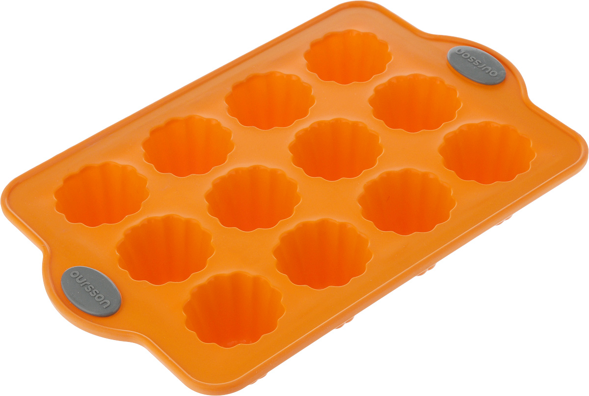 Форма для выпечки Oursson Bon Appetit, силиконовая, цвет: оранжевый, 12 ячеекFS-91909Форма для кексов и желе Oursson Bon Appetit, выполненная из силикона, будет отличным выбором для всех любителей домашней выпечки. Форма имеет 12 ячеек. Форма не провисает, так как расположена на металлическом каркасе. Силиконовые формы для выпечки имеют множество преимуществ по сравнению с традиционными металлическими формами и противнями. Нет необходимости смазывать форму маслом. Она быстро нагревается, равномерно пропекает, не допускает подгорания выпечки с краев или снизу.Материал устойчив к фруктовым кислотам, не ржавеет, на нем не образуются пятна. Форма может быть использована в духовках и микроволновых печах (выдерживает температуру от -20°С до +220°С), также ее можно помещать в морозильную камеру и холодильник.Размер формы: 28 х 18 х 4 см.Размер ячейки: 4,5 х 4,5 х 4 см.