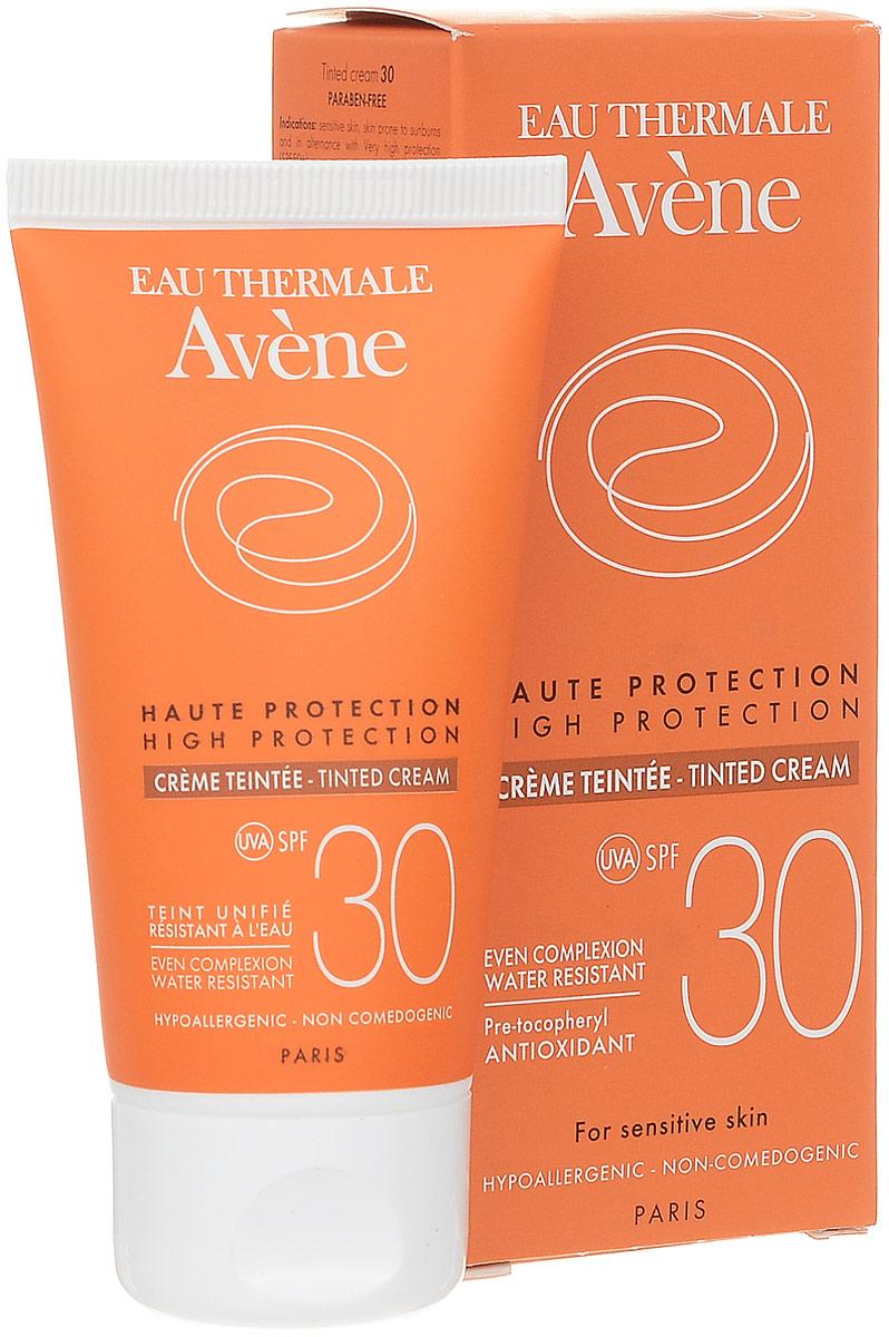 Avene Солнцезащитный крем с тонирующим эффектом SPF30, 50 млC51609Крем улучшает цвет лица, придавая ему естественный оттенок загара. Фотостабильная формула с инновационным комплексом солнечных фильтров SunSitive обеспечивает высокую степень защиты от UVA/UVB излучения. Дышащая защитная пленка препятствует обезвоживанию эпидермиса, придает коже приятное сияние. Обеспечивает антиоксидантный эффект.