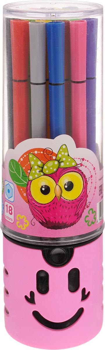 Mazari Набор фломастеров Junior 18 цветов цвет футляра розовый730396Яркие фломастеры Mazari Junior помогут маленькому художнику раскрыть свой творческий потенциал, рисовать и раскрашивать яркие картинки, развивая воображение, мелкую моторику и цветовосприятие. В наборе 18 разноцветных фломастеров. Корпусы выполнены из пластика. Чернила на водной основе нетоксичны, благодаря чему полностью безопасны для ребенка и имеют яркие, насыщенные цвета. Если маленький художник запачкался - не беда, ведь фломастеры отстирываются с большинства тканей. Вентилируемый колпачок надолго сохранит яркость цветов.Набор фломастеров упакован в удобный пластиковый пенал, оформленный изображением совы.