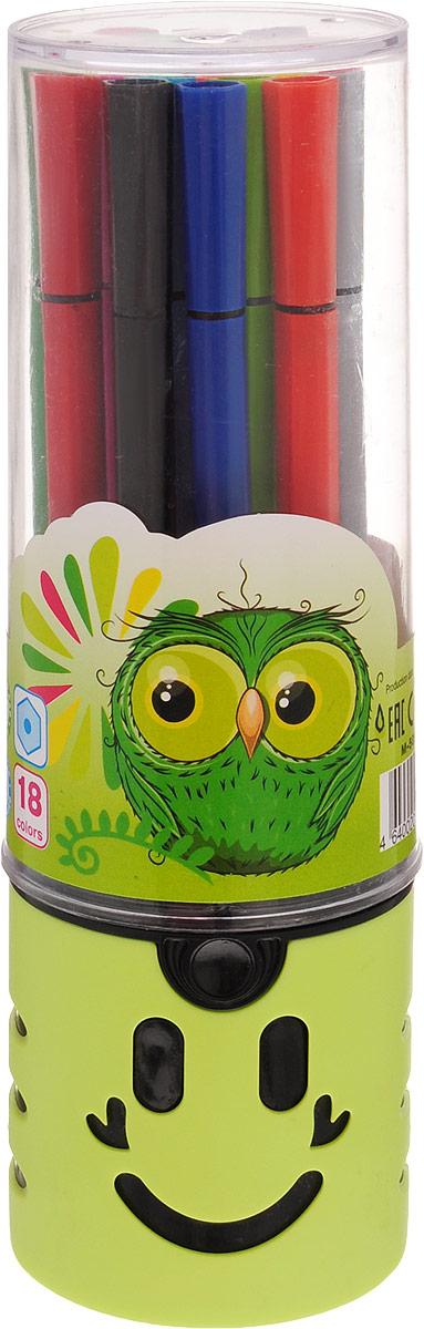 Mazari Набор фломастеров Junior 18 цветов цвет футляра салатовый87587Яркие фломастеры Mazari Junior помогут маленькому художнику раскрыть свой творческий потенциал, рисовать и раскрашивать яркие картинки, развивая воображение, мелкую моторику и цветовосприятие. В наборе 18 разноцветных фломастеров. Корпусы выполнены из пластика. Чернила на водной основе нетоксичны, благодаря чему полностью безопасны для ребенка и имеют яркие, насыщенные цвета. Если маленький художник запачкался - не беда, ведь фломастеры отстирываются с большинства тканей. Вентилируемый колпачок надолго сохранит яркость цветов.Набор фломастеров упакован в удобный пластиковый пенал, оформленный изображением забавной мордочки.
