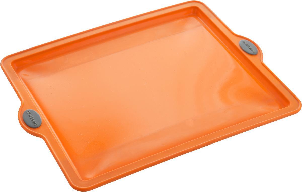 Форма для выпечки Oursson Противень, цвет: оранжевый, 38 х 28,5 х 1,7 см94672Форма Oursson Противень выполнена из экологически чистого силикона с жестким металлическим каркасом и предназначена для приготовления выпечки. Материал позволяет быстро и легко извлекать приготовленное изделие. Изделие оснащено удобными ручками.Выдерживает температуру от -20°С до +220°С. Можно использовать в микроволновой печи, духовке и морозильной камере. Можно мыть в посудомоечной машине.