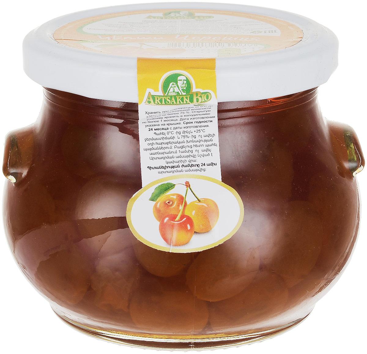 Artsakh Bio варенье из черешни, 450 г4665301640049Черешня пользуется огромной популярностью. Это прародительница вишни. Плоды черешни имеют сердцевидную форму. Окраска светлая желтая, почти белая.В их состав входят сахар, органические кислоты, микроэлементы, макроэлементы (йод, железо, кальций), витамины А, Е, В, С. Пектиновые вещества, находящиеся в ягоде, благотворно влияют на пищеварение, а антоцианы защищают организм человека от свободных радикалов. Полезные ягоды помогают быстро избавиться от отеков. Варенье Artsakh Bio очень вкусное, янтарного цвета.Уважаемые клиенты! Обращаем ваше внимание, что полный перечень состава продукта представлен на дополнительном изображении.