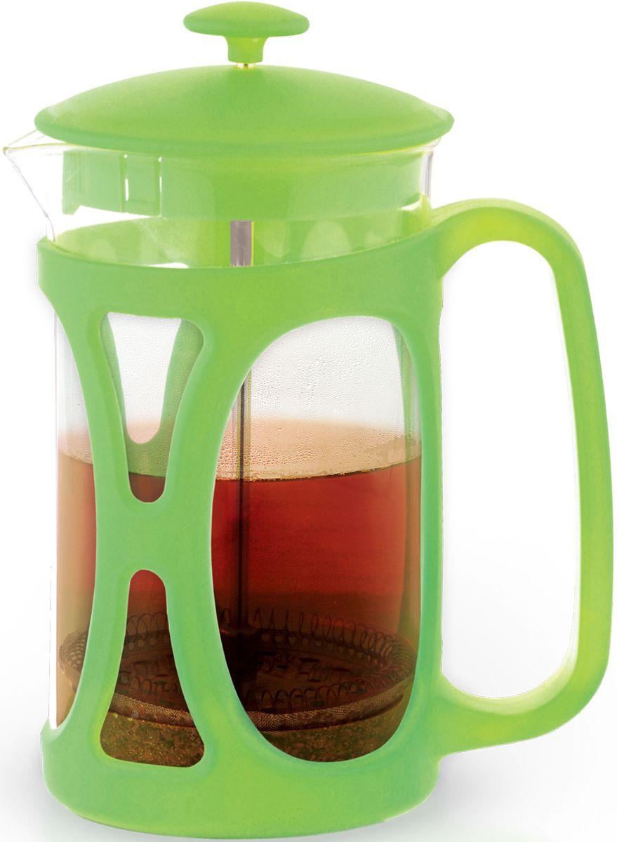 Заварочный чайник Fissman Opera, с поршнем, цвет: зеленый чай, 350 мл. 9034115510Заварочный чайник Fissman Opera изготовлен изжаропрочного стекла и пластика. Фильтр-поршень из нержавеющей стали оснащен ситечком для обеспечения равномерной циркуляцииводы. Засыпая чайную заварку или кофе под фильтр, заливаягорячей водой, вы получаете ароматный напиток соптимальной крепостью и насыщенностью. Остановитьпроцесс заваривания легко, для этого нужно просто опуститьпоршень, и все уйдет вниз, оставляя вверху напиток, готовый купотреблению. Изделие оснащено эргономичнойручкой, которая обеспечит безопасный и удобныйхват. Такой чайник позволит быстро и простоприготовить свежий и ароматный кофе или чай. Объем: 350 мл.