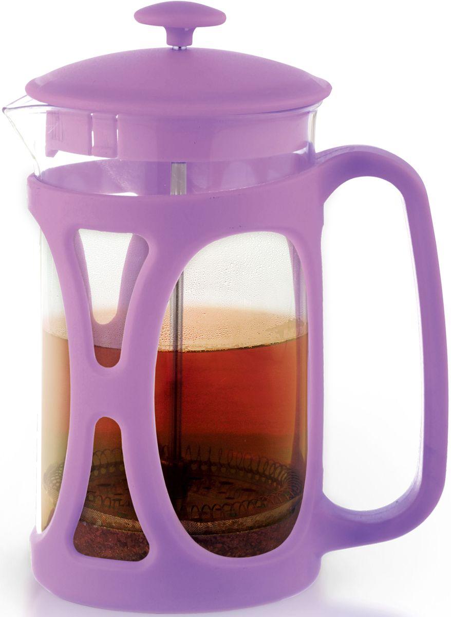 Заварочный чайник Fissman Opera, с поршнем, цвет: лиловый, 800 мл. 9036VT-1520(SR)Заварочный чайник Fissman Opera изготовлен изжаропрочного стекла и пластика. Фильтр-поршень из нержавеющей стали оснащен ситечком для обеспечения равномерной циркуляцииводы. Засыпая чайную заварку или кофе под фильтр, заливаягорячей водой, вы получаете ароматный напиток соптимальной крепостью и насыщенностью. Остановитьпроцесс заваривания легко, для этого нужно просто опуститьпоршень, и все уйдет вниз, оставляя вверху напиток, готовый купотреблению. Изделие оснащено эргономичнойручкой, которая обеспечит безопасный и удобныйхват. Такой чайник позволит быстро и простоприготовить свежий и ароматный кофе или чай. Объем: 800 мл.