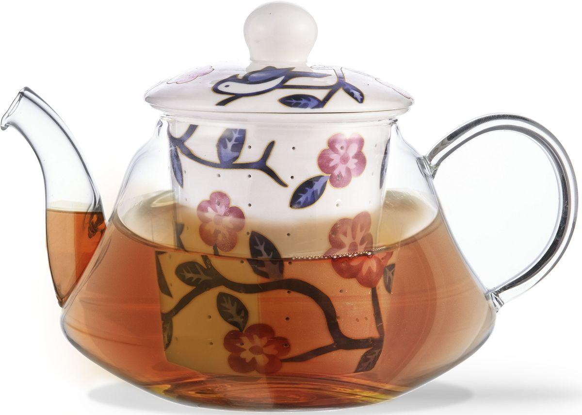Заварочный чайник Fissman Casablanca, с керамическим фильтром и крышкой, 600 мл. 927454 009312Заварочный чайник Fissman Casablanca изготовлен из высококачественного жаропрочного стекла. Чайник оснащен удобной ручкой. Фильтр и крышка выполнены из керамики с цветочным узором. Красочность оформления придется по вкусу всем, кто предпочитаетутонченность и изысканность.Объем: 600 мл.