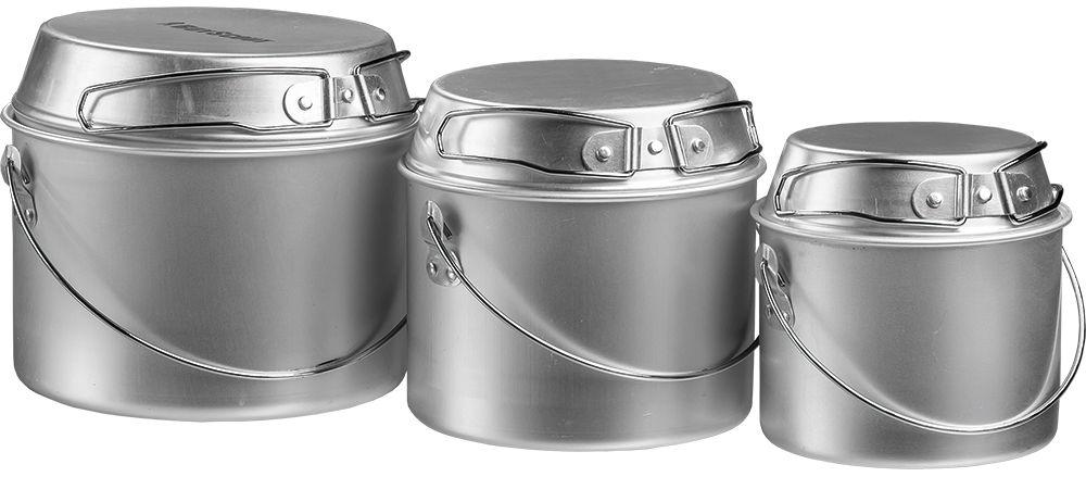 Набор котлов Boyscout Туристический, с универсальными крышками-сковородками, 3 шт0003929Набор Boyscout Туристический, изготовленный из высококачественного алюминия, состоит из 3 котелков и 3 универсальных крышек-сковородок. Изделия, оснащенные удобными ручками, предназначены для приготовления пищи на пикнике и в походе. Набор рассчитан на 1-2 персоны. Объем котлов: 1 л; 2 л; 3 л.Диаметр котлов (по верхнему краю): 13,5 см; 16 см; 19 см.Высота стенок котлов: 10 см; 11 см; 12 см.Объем крышек-сковородок: 400 мл; 500 мл; 800 мл.Диаметр крышек-сковородок (по верхнему краю): 12,5 см; 15 см; 17,5 см.Высота стенок крышек-сковородок: 4,5 см; 4,5 см; 5 см.Длина ручек крышек-сковородок: 9 см; 9 см; 11 см.