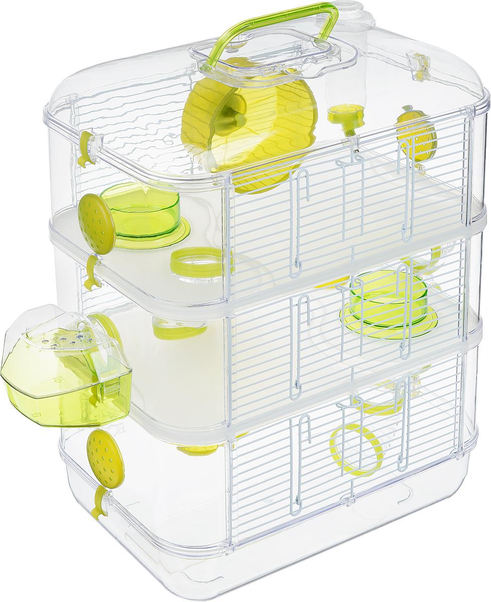 Клетка для грызунов Zolux Rody Trio, 3-ярусная, 40 х 26 х 53 см205841Просторная клетка для грызунов Zolux Rody Trio будет служить домом и одновременно местом для экстремальных развлечений. Прозрачные стены и внутренние элементы клетки позволяют наблюдать за животным, где бы оно ни находилось. В комплект входят бутылочка 170 мл, 2 колеса, 2 кормушки, 1 внешнее гнездо, 4 плоских пробки, 7 согнутых труб, 10 соединителей. Также имеется инструкция по сборке на русском языке.Такая клетка станет уединенным личным пространством и уютным домиком для маленького грызуна.