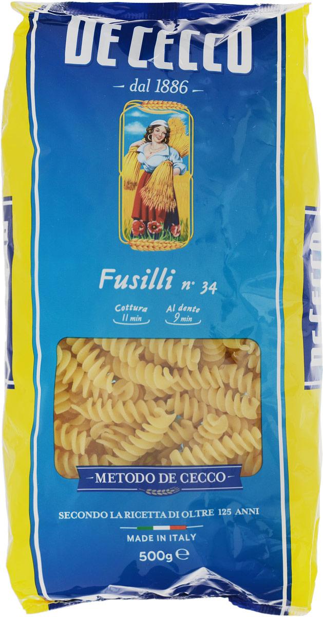 De Cecco паста фузилли №34, 500 г0120710Фузилли De Cecco - классические в форме спирали. Этот вид пасты в Италии известен издревле. Фузилли подаются традиционно с неаполитанским рагу или соусами на основе мяса.