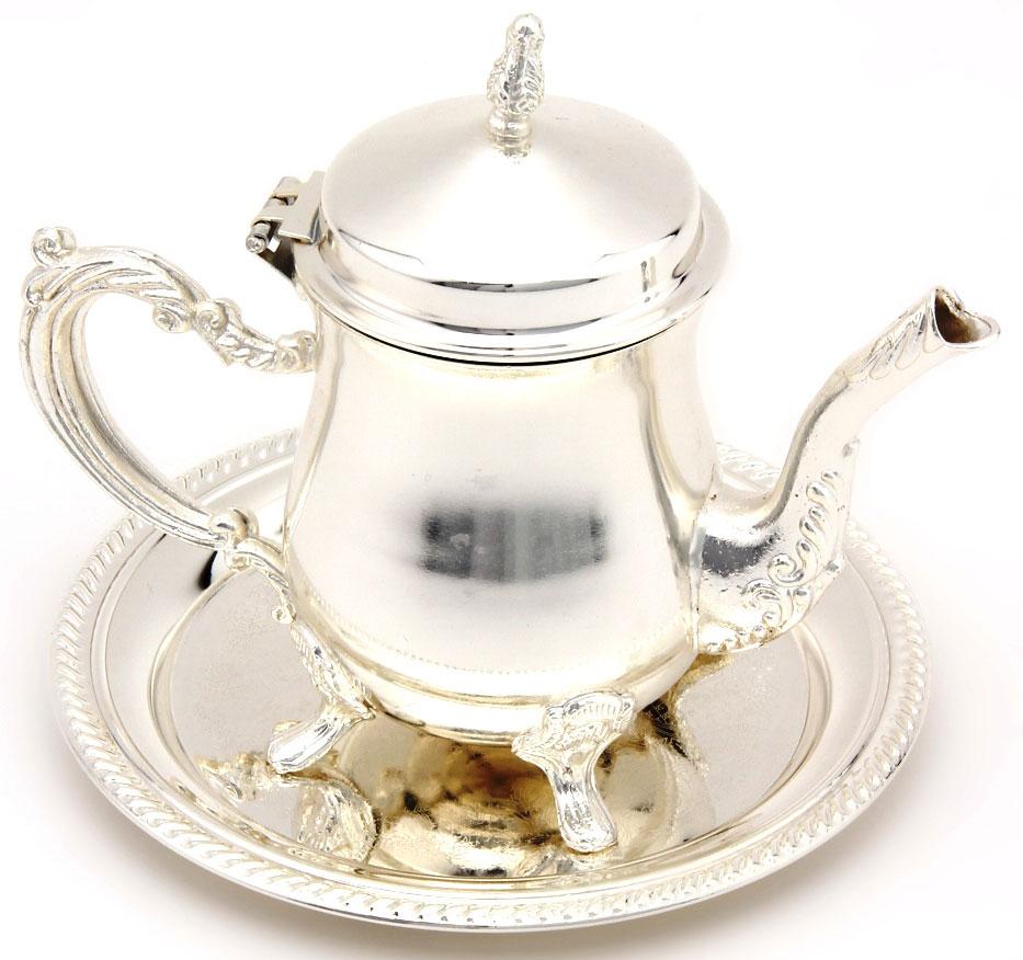 Чайник заварочный Marquis, 400 мл. 8026-MR115510Чайник на подносике 2 предмета великолепно украсит праздничный стол и подчеркнет прекрасный вкус хозяина, а также станет отличным подарком. Состав: нержавеющая сталь с никель-серебряным покрытем (гальваника). Уход: Сухая чистка либо протирать влажной тряпочкой без использования абразивных средств.