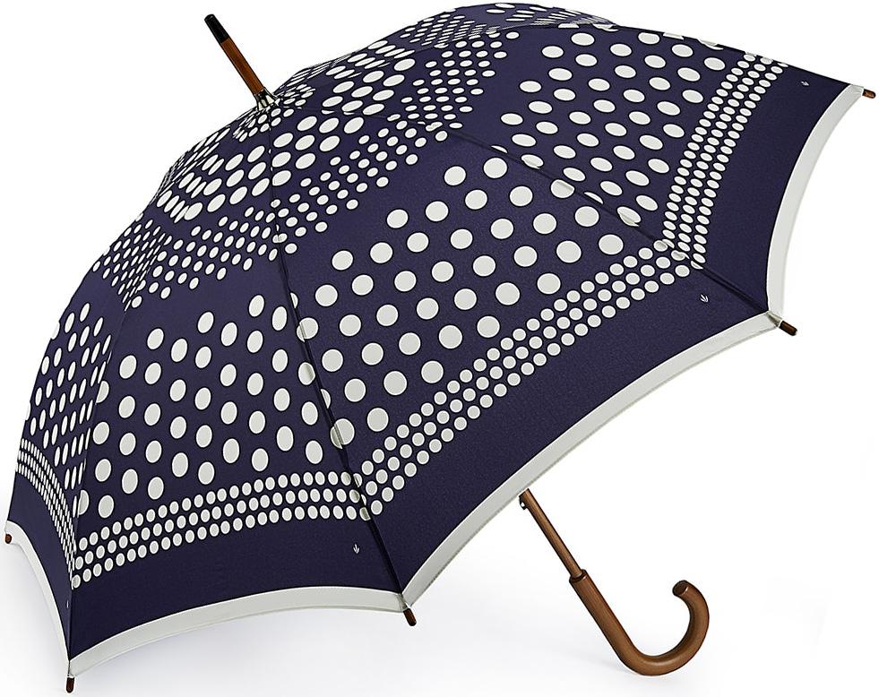 Зонт-трость женский Fulton, механический, цвет: синий. L056-3385Колье (короткие одноярусные бусы)Яркий механический зонт-трость Fulton даже в ненастную погоду позволит вам оставаться стильной и элегантной. Каркас зонта включает 8 спиц из фибергласса. Стержень изготовлен качественного дерева. Купол зонта выполнен из высококачественного полиэстера.Рукоятка закругленной формы, разработана с учетом требований эргономики.Зонт механического сложения: купол открывается и закрывается вручную до характерного щелчка. Такой зонт не только надежно защитит вас от дождя, но и станет стильным аксессуаром, который идеально подчеркнет ваш неповторимый образ.