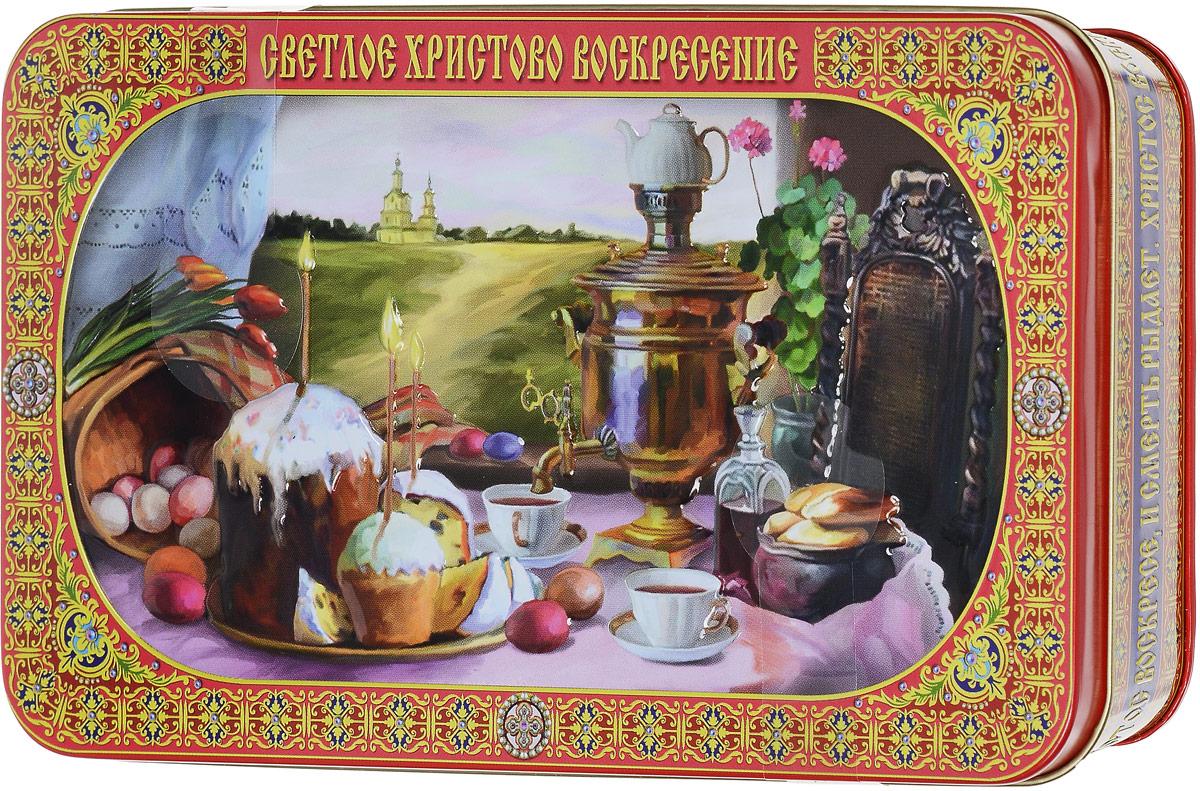 Вера, Надежда, Любовь Светлое Христово Воскресение подарочный черный листовой чай, 100 г101246Пасха - Воскресение Христово - древнейший христианский праздник; главный праздник богослужебного года. Установлен в честь воскресения Иисуса Христа. В настоящее время его дата в каждый конкретный год исчисляется по лунно-солнечному календарю, что делает Пасху переходящим праздником.Начиная с пасхальной ночи и последующие сорок дней принято христосоваться, то есть приветствовать друг друга словами: Христос воскресе! - Воистину воскресе!, при этом троекратно целуясь.