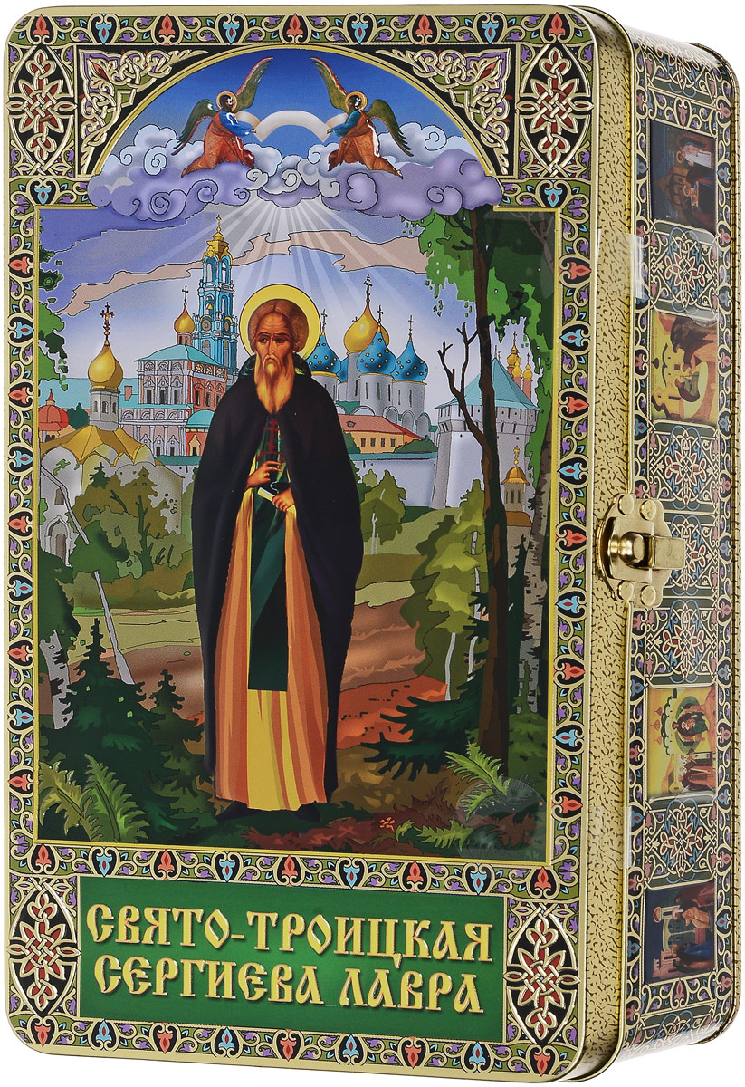 Вера, Надежда, Любовь Сергий Радонежский подарочный черный листовой чай, 300 г0120710Сергий Радонежский - основатель Троицкого монастыря. В 1328 году он вместе с семьей переехал в Радонеж. Там отправился в монастырь, а через некоторое время им была основана церковь Сергия Радонежского во имя Святой Троицы. Затем он стал игуменом в Богоявленском монастыре, принял имя Сергий. Сергий Радонежский основал несколько монастырей, обителей кроме Троице-Сергиевого: Борисоглебский, Благовещенский, Старо-Голутвинский, Георгиевский, Андронников и Симонов, Высотский. Сергий Радонежский был назван святым в 1452 году.