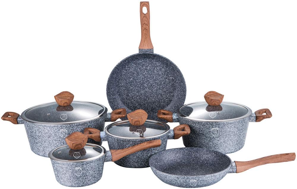Набор посуды Berlinger Haus, 10 предметов. 1212-ВН54 009312Набор посуды со стеклянными крышками 10 предметов из кованого алюминия, кастрюли 20 х 10 см, 2,5л, 24 х 12 см, 4 л, 28 х 5.5 см, 6,6 л, ковш 16 х 8.5 см, сковорода 24 х 5 см, сковорода 28 х 5,5 см, кованый алюминий, 3 слоя мраморно-гранитного покрытия, толщина стенок 0,5 см, эргономичная ручка soft touch, индукционное дно, крышка с ручкой-подставкой под кухонные принадлежности, цвет: серый/коричневый. Подходит для всех видов плит: газовых, электрических, стеклокерамических, галогенных, индукционных.