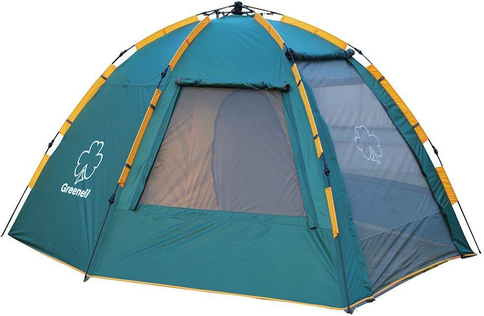 Палатка Greenell Хоут 4 V2, цвет: зеленыйAS009Высокая кемпинговая палатка Greenell Хоут 4 V2 с полуавтоматическим каркасом, устанавливается за 1 минуту одним человеком. Эта двухслойная палатка имеет большой тамбур . Возможна отдельная установка тента. Палатка имеет: - Q-образный вход, который продублирован сеткой. - Улучшенную сквозную вентиляцию. - Облегченную регулировку оттяжек со световозвращающей нитью. -Москитную сетку.- Дополнительные стальные стойки для полога.