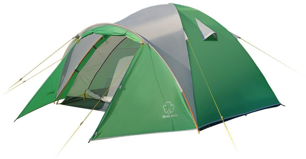 Палатка Greenell Дом 4 V2, цвет: зеленый, светло-серый67742Туристическая палатка Greenell имеет очень просторный и удобный тамбур. Размеры палатки позволяют чувствовать себя комфортно во время сна и при укрытии от непогоды.Антимоскитные сетки, расположенные на входе и окнах, хорошо защитят от насекомых.Объемный тамбур позволяет разместить много снаряжения.Водостойкость тента (мм/в.ст.): 2000.Возможна установка без тента.