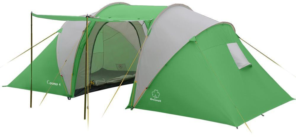 Палатка Greenell Космо 4, цвет: зеленый, светло-серый67742Двухкомнатная палатка Greenell Космо 4 подходит для дружной семьи. Очень просторный тамбур позволяет разместить багаж, а крепление для фонаря позволит освещать его в темное время. С помощью стоек, которые входят в комплект, полог входа делается в дополнительный навес. Отдыхая с детьми или в компании с друзьями, 2 спальных отделения, с непромокаемым дном и противомоскитными сетками, позволят всем комфортно выспаться на природе. Если нет необходимости ставить вторую спальню, то появится дополнительное место под тентом.