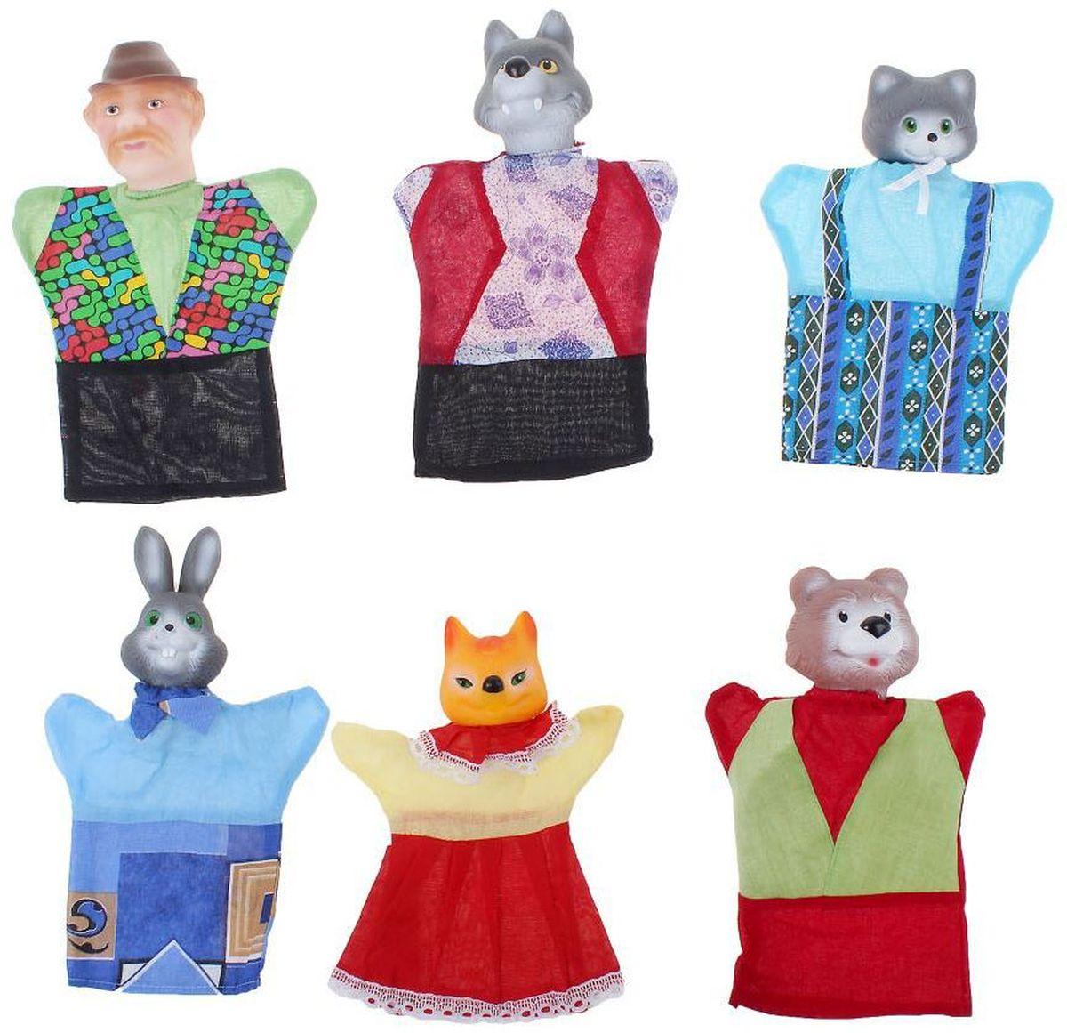 Sima-land Кукольный театр Кот и лиса 6 персонажей 490121 sima land набор мягких игрушек на руку теремок 6 персонажей 477058