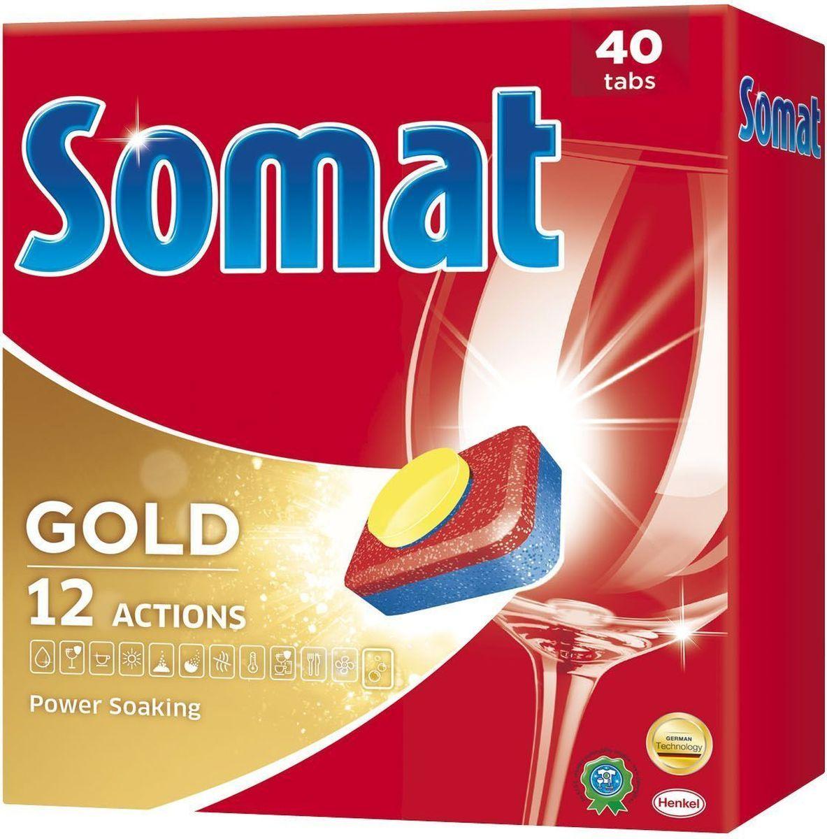 Cредство для посудомоечной машины Somat Gold, 40 шт935277Сомат Голд с миллионом активных частиц обеспечивает безупречный результат, легко справляясь с грязью и жиром и устраняя засохшие остатки пищи, как если бы вы предварительно замачивали и опласкивали посуду и включает следующие функции:Очиститель - для великолепной чистоты.Функция ополаскивателя - для сияющего блеска.Функция соли - для защиты посуды и стекла от известкового налета.Удаление пятен от чая.Защита посудомоечной машины против известковых отложений.Активная формула Эффект замачивания помогает устранить засохшие остатки пищи.Защита против коррозии стекла.Блеск нержавеющей стали и столовых приборов.Обеспечивает гигиеническую чистоту. Дозировка: 1 таблетка для любых видов загрязнений. Для очень жёсткой воды (>21 °dH) рекомендуется использовать 1 таблетку плюс Сомат соль и Сомат Ополаскиватель. Жесткость воды в вашем регионе можно узнать в службе Роспотребнадзора