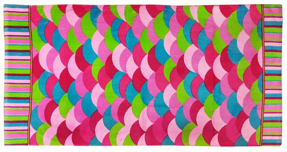Полотенце пляжное Bonita, цвет: зеленый, малиновый, голубой, 75 x 150 см12723Пляжное полотенце Bonita выполнено из 100% хлопка. Изделие отлично впитывает влагу, быстро сохнет, сохраняет яркость цвета и не теряет форму даже после многократных стирок. Такое полотенце очень практично и неприхотливо в уходе. Оно создаст прекрасное настроение и отлично подойдет для использования дома и на пляже.