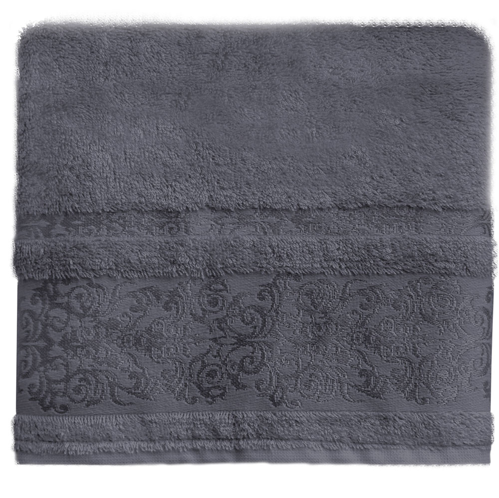 Полотенце банное Bonita Дамаск, цвет: антрацит, 50 x 90 см68/5/3Банное полотенце Bonita Дамаск выполнено из 30% хлопка и 70% бамбука. Изделие отлично впитывает влагу, быстро сохнет, сохраняет яркость цвета и не теряет форму даже после многократных стирок. Такое полотенце очень практично и неприхотливо в уходе. Оно создаст прекрасное настроение и украсит интерьер в ванной комнате.