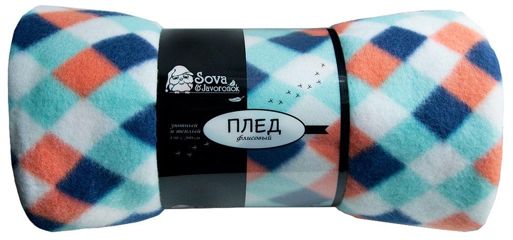 Плед Sova & Javoronok, флисовый, цвет: синий, 130 x 150 см. 60301165686030116568Плед Sova & Javoronok - мягкий и приятный на ощупь, он станет неотъемлемой частью дома, а яркая расцветка будет радовать вас каждый день. Удобный, большой размер этого очаровательного пледа позволит вам использовать его и как одеяло, и как покрывало для кресла или софы. Плед сохраняет все свои свойства после многократных стирок. Характеристики: Состав: 100% полиэстер. Плотность: 170 г/м2.
