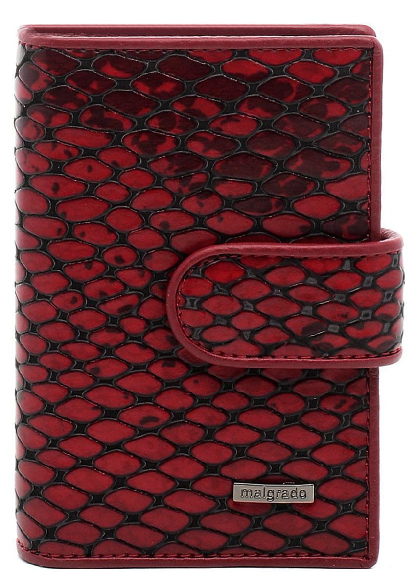 Визитница Malgrado, цвет: красный. 42003-52501INT-06501Стильная визитница Malgrado изготовлена из натуральной кожи с фактурным тиснением под кожу рептилии, оформлена металлической пластиной с символикой бренда.Визитница закрывается хлястиком на кнопку. Внутри содержит вкладыш, состоящий из двадцати файлов для кредитных и дисконтных карт, карман с прозрачной вставкой и карман для мелких документов.Такая визитница станет замечательным подарком человеку, ценящему качественные и практичные вещи.